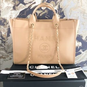 New! Chanel 19B Large Deauville Caviar LeatherTote